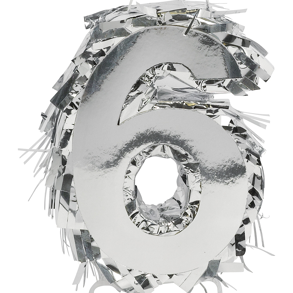 Metallic Silver Number 6 Pinata Decoration Image #1