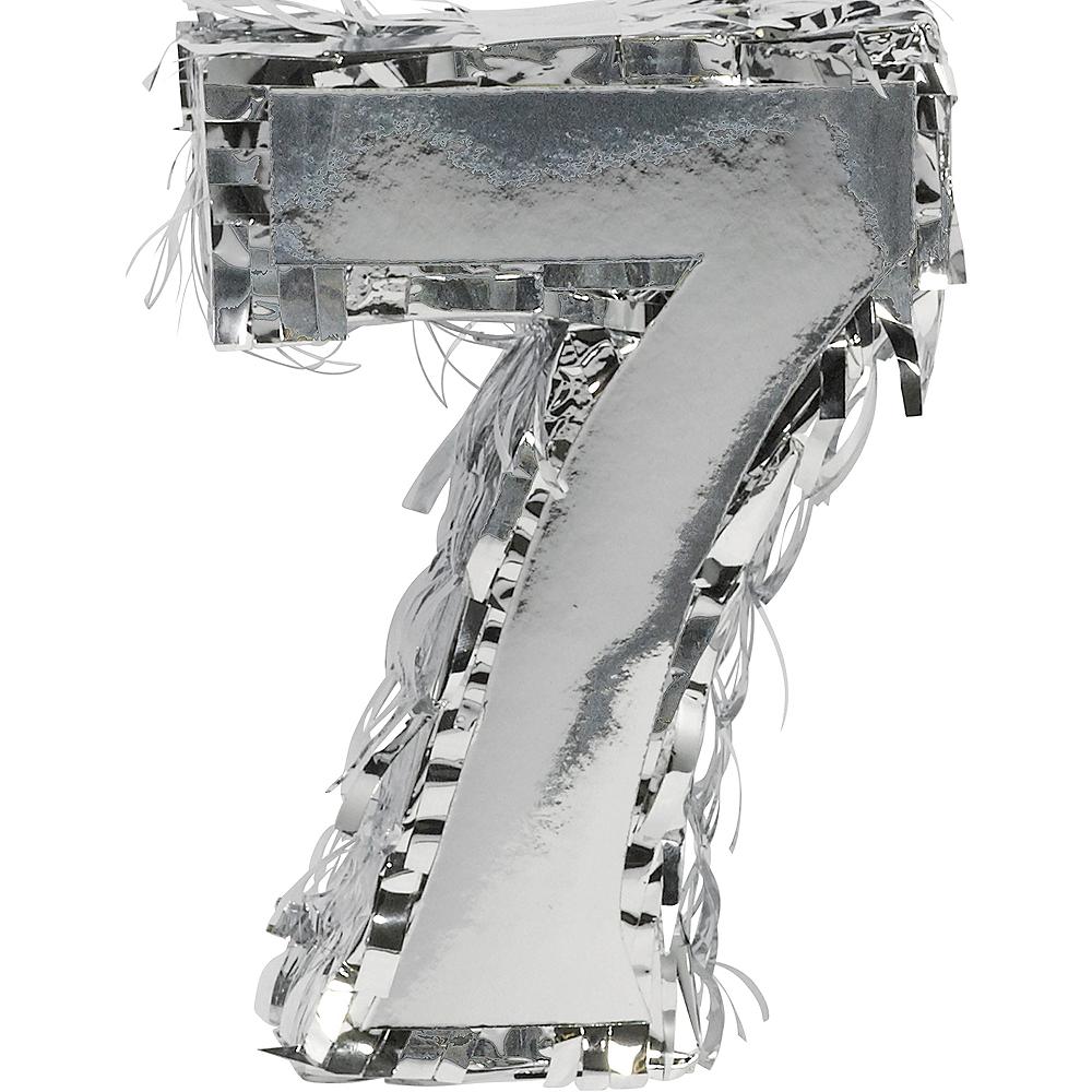 Metallic Silver Number 7 Pinata Decoration Image #1