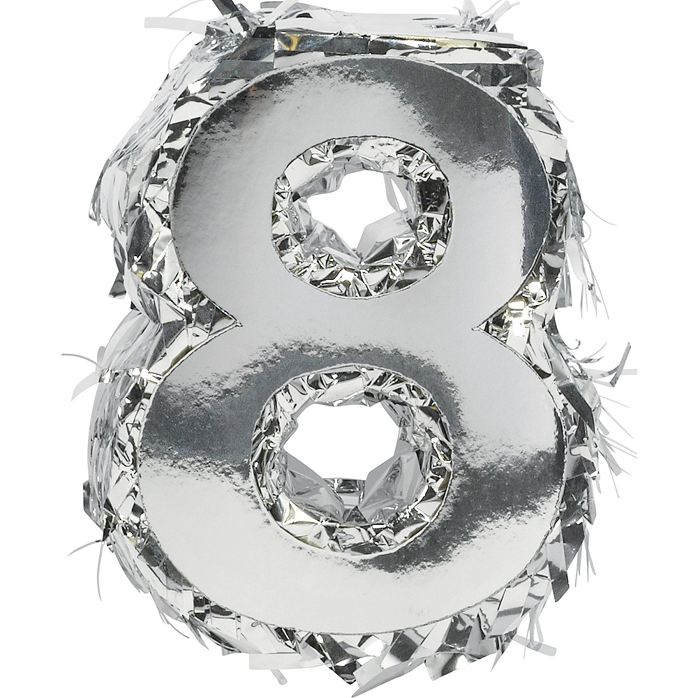Metallic Silver Number 8 Pinata Decoration Image #1