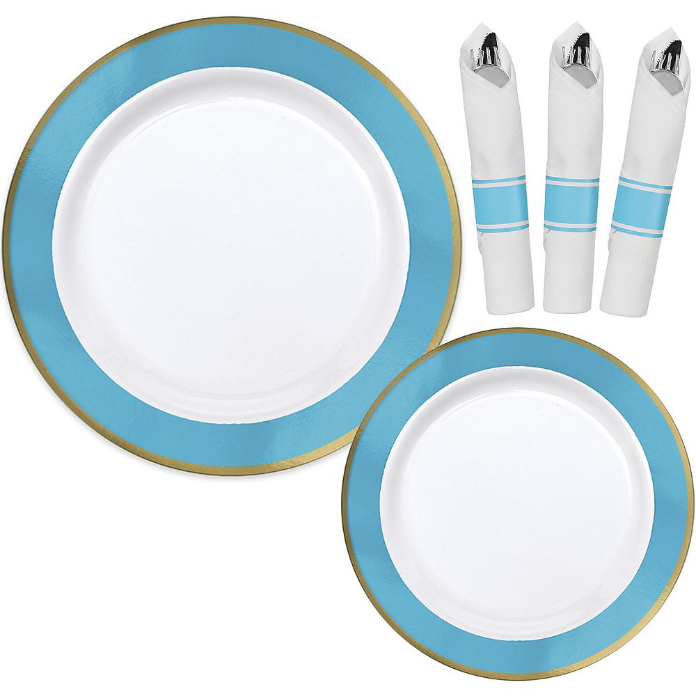 Premium Caribbean Blue Border & Gold Tableware Kit for 20 Guests Image #1