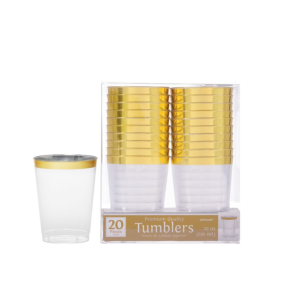 Premium Caribbean Blue Border & Gold Tableware Kit for 20 Guests Image #5
