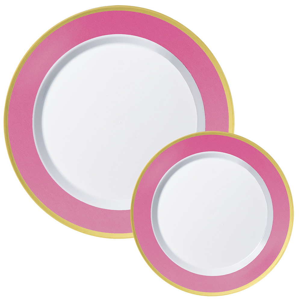Premium Bright Pink Border & Gold Tableware Kit for 20 Guests Image #2