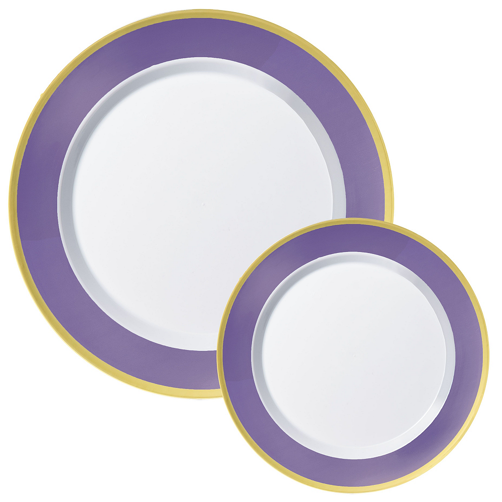 Premium Purple Border & Gold Tableware Kit for 20 Guests Image #2