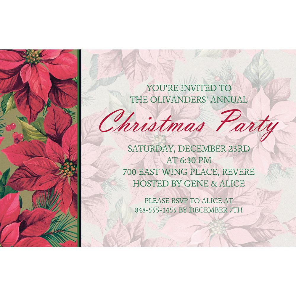 Custom Holiday Poinsettia Invitations Image #1
