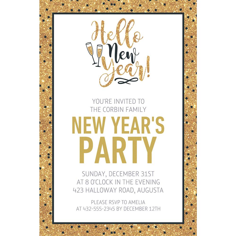 Custom Gold Glitter Hello New Year Invitations Image #1