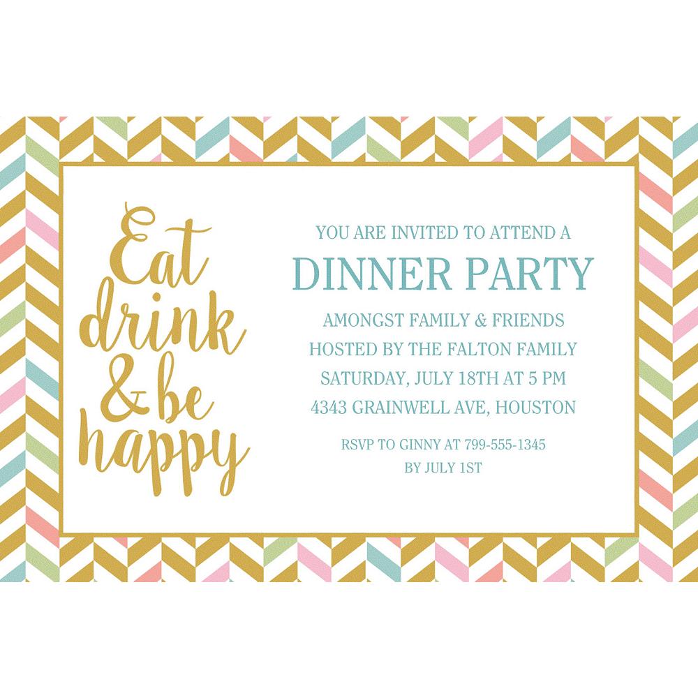 Custom Eat, Drink & Be Happy Invitations Image #1