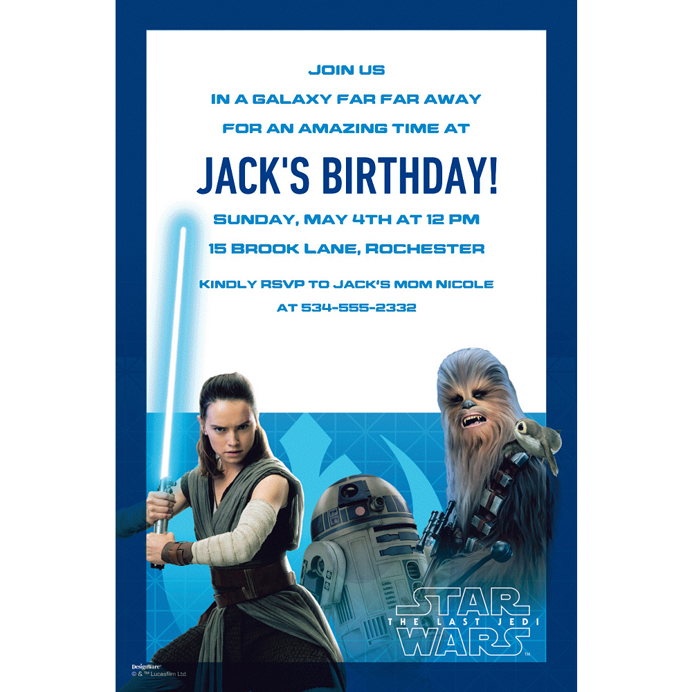 Custom Star Wars 8 Invitations Image #1