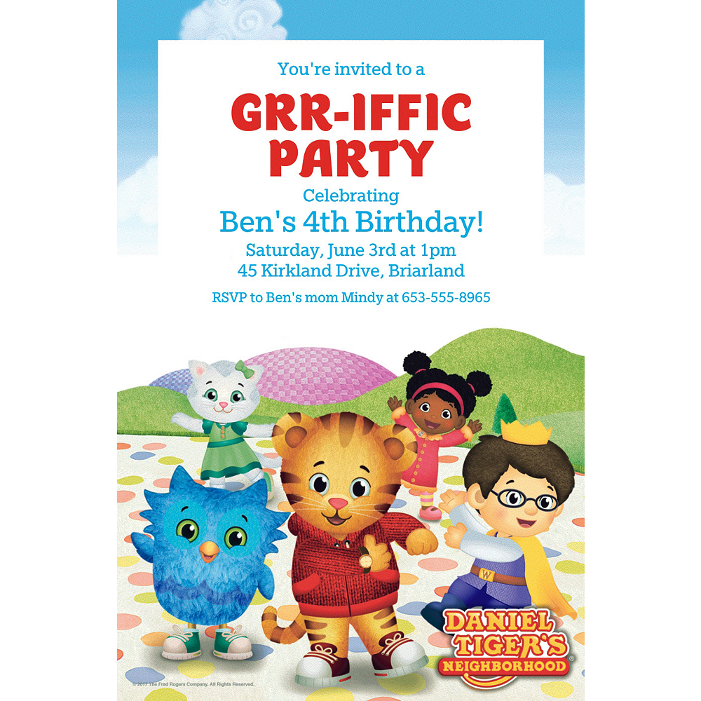 Custom Daniel Tiger S Neighborhood Invitations Party City