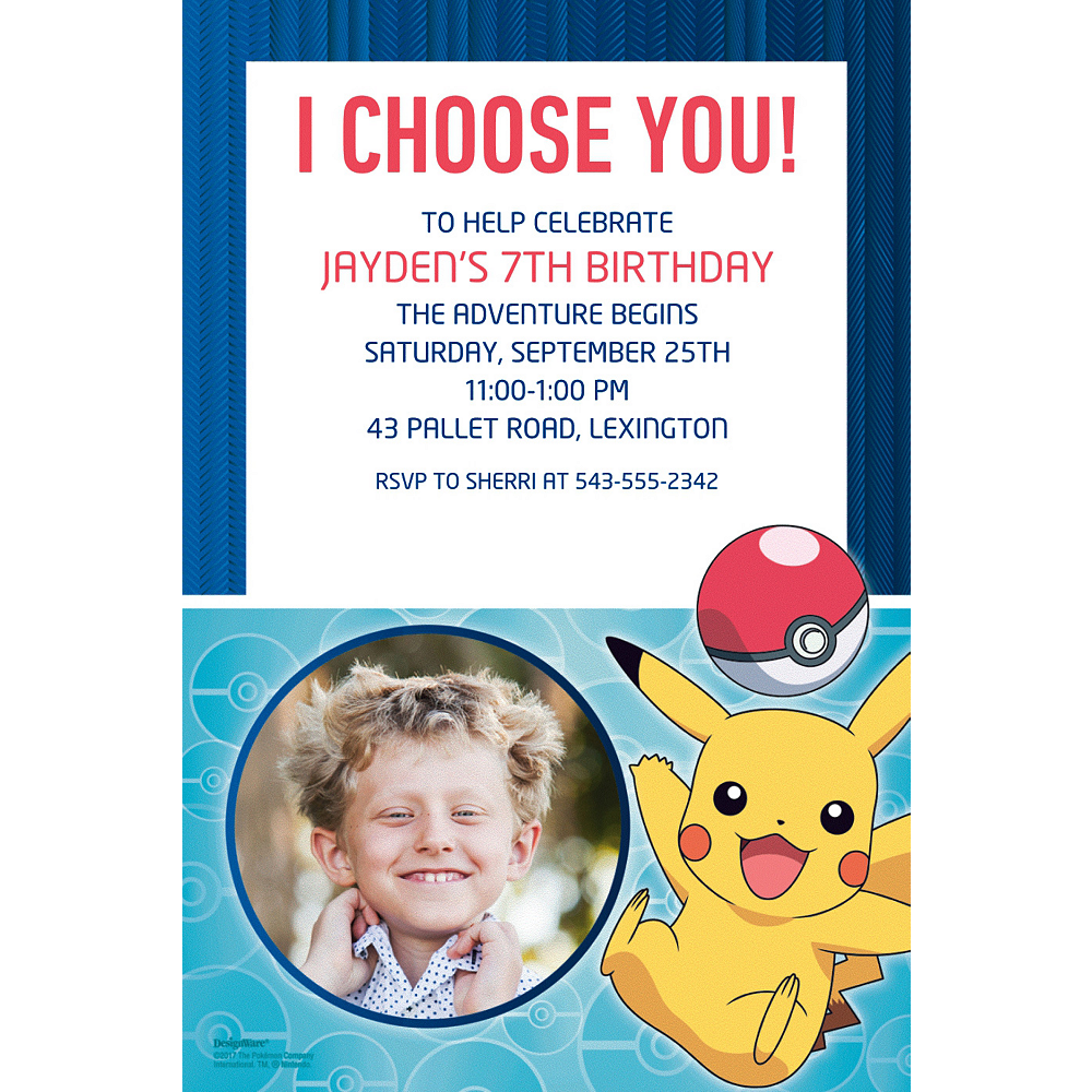 Custom Pokemon Core Photo Invitations Image 1