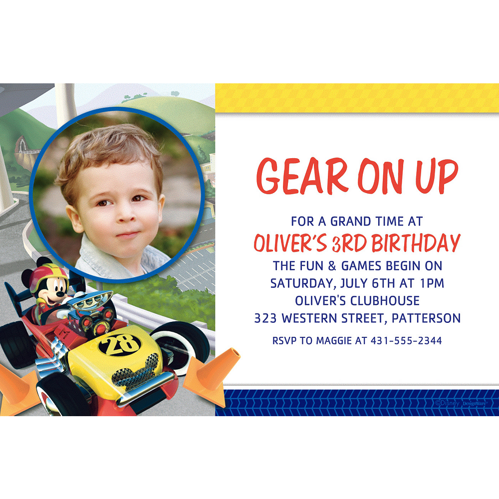 Custom Mickey & the Roadster Racers Photo Invitations | Party City