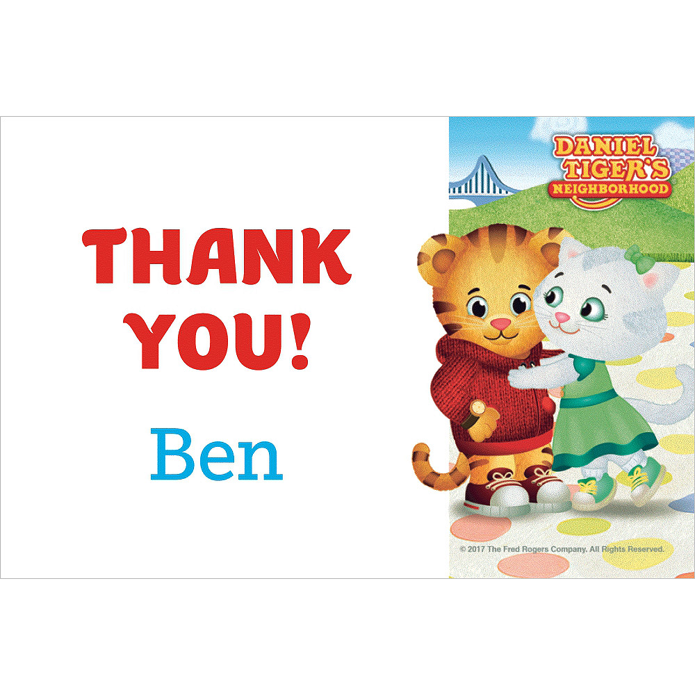 Custom Daniel Tiger\'s Neighborhood Thank You Notes | Party City