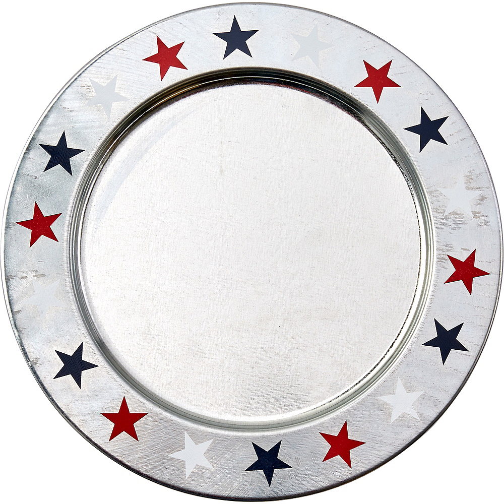 Patriotic Red, White & Blue Stars Metal Charger 12in | Party City on backyard barbecue decor ideas, backyard movie diy, backyard bbq food table decorating, backyard bbq wedding ideas, backyard barbeque pool party,