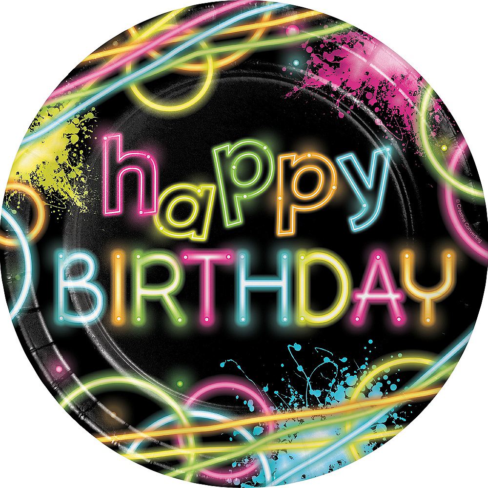 Neon Happy Birthday Lunch Plates 8ct Image #1
