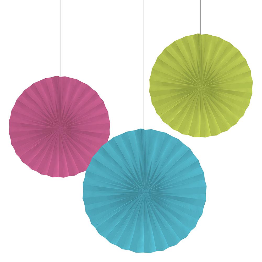 Neon Paper Fan Decorations 3ct Image #1
