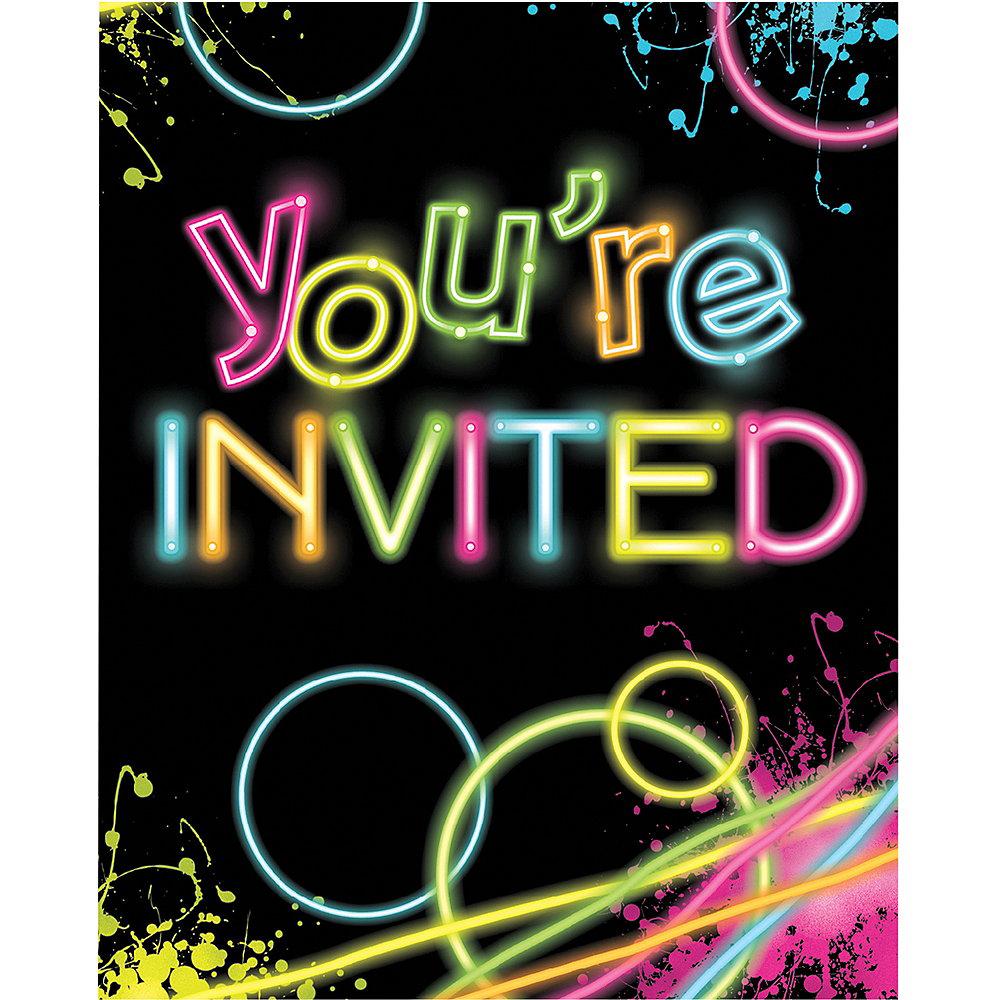 Neon Party Invitations 8ct | Party City
