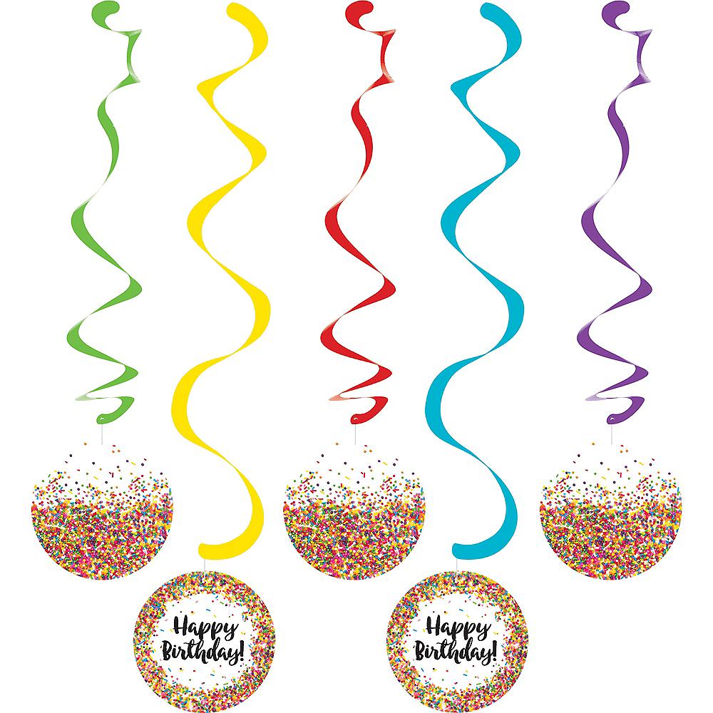 Rainbow Sprinkles Happy Birthday Swirl Decorations 5ct Image #1