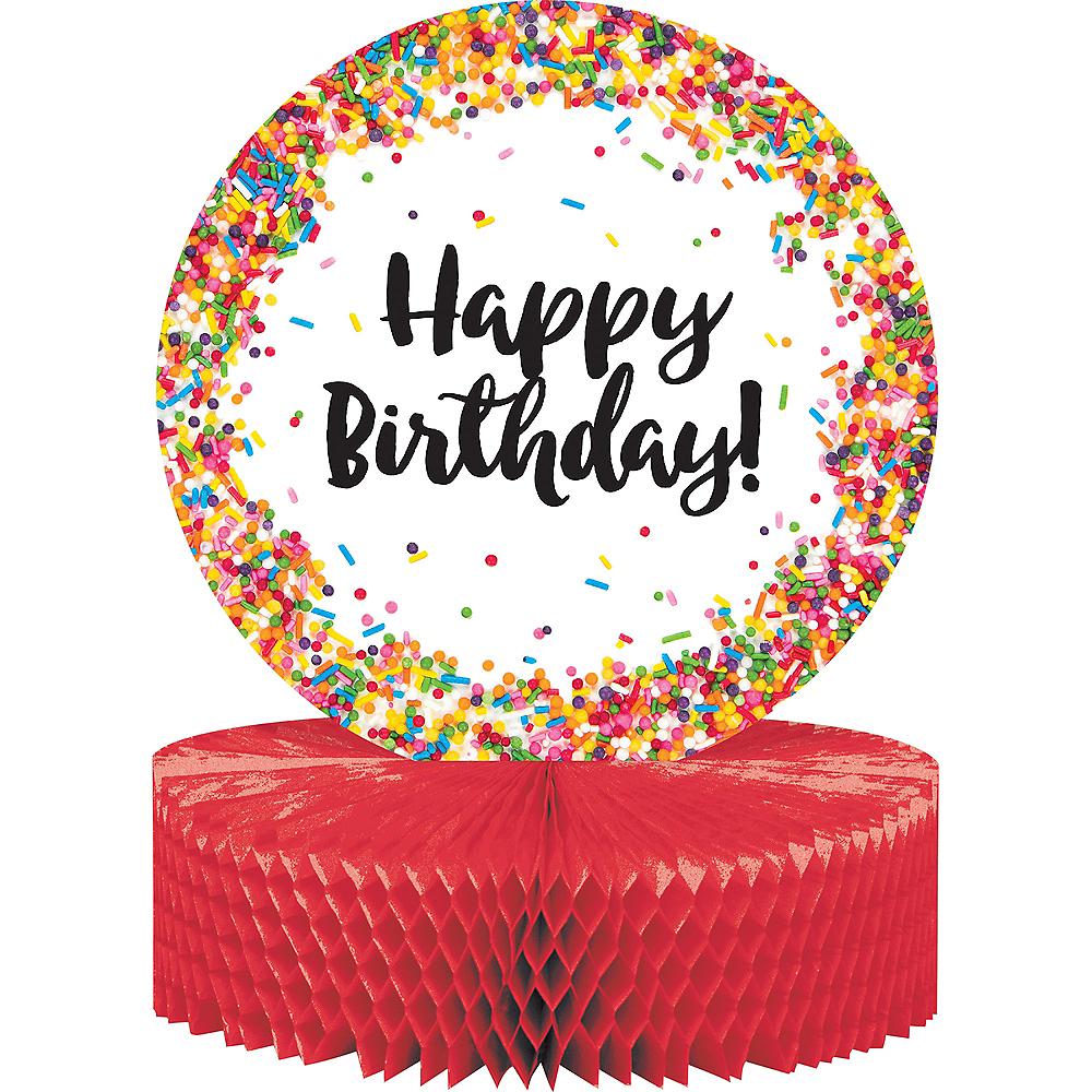 Rainbow Sprinkles Happy Birthday Honeycomb Centerpiece Image #1
