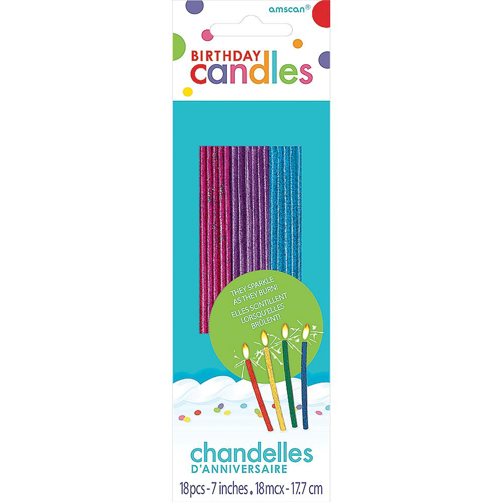 Glitter Tall Jewel Tone Sparkler Birthday Candles 18ct Image #1