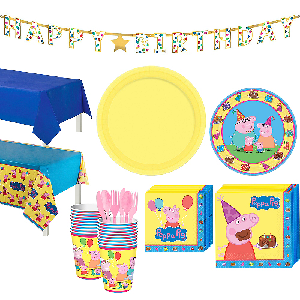 Peppa Pig Party Supplies Pack for 16 Guests Includes 16 Dessert Plates and 16 Beverage Napkins