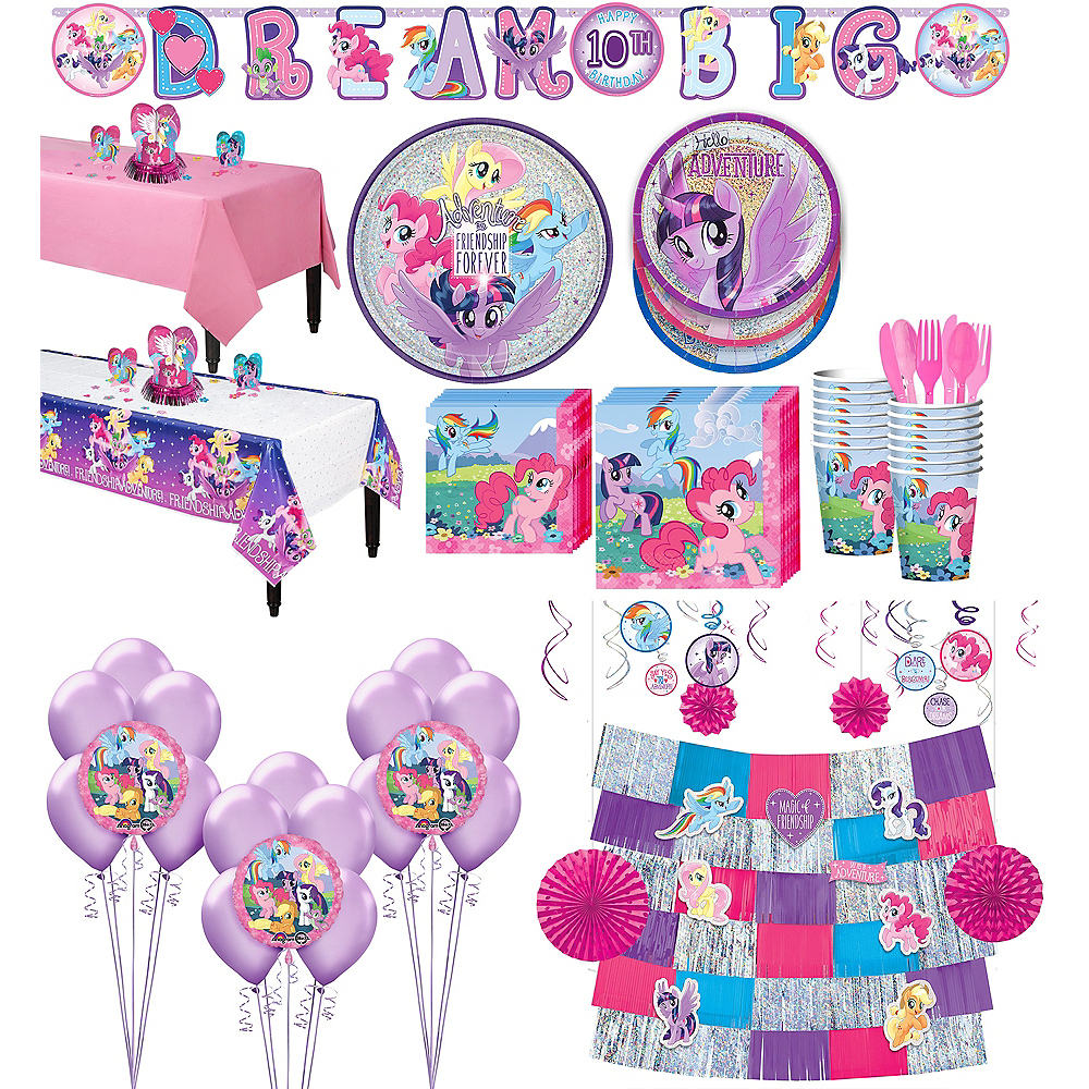 and Cups Beverage Napkins Dessert Plates My Little Pony Friendship Adventures Party Supplies Pack for 16 Guests: Stickers Table Cover