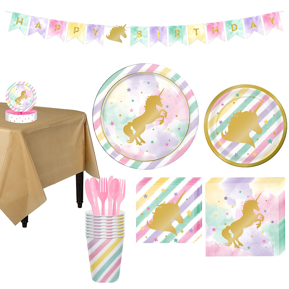 Nav Item For Sparkling Unicorn Tableware Party Kit 8 Guests Image 1