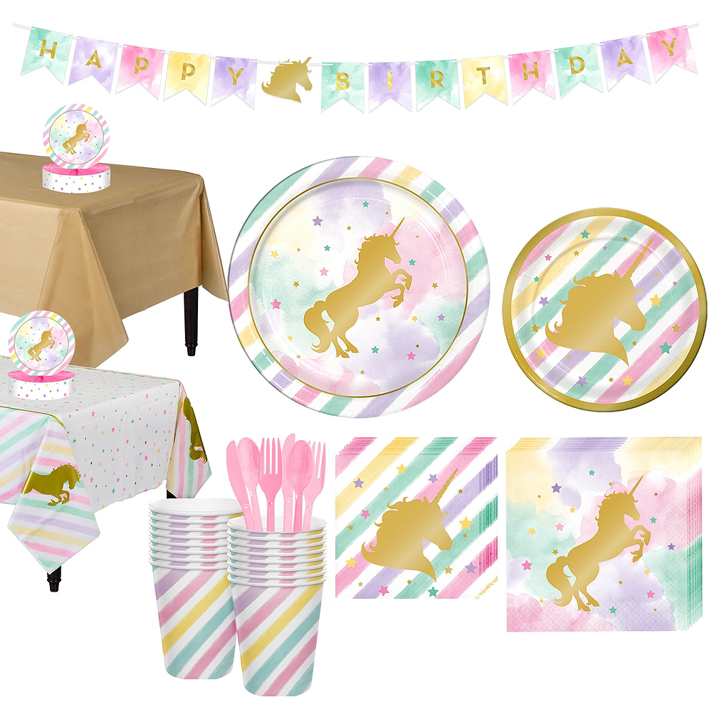 Sparkling Unicorn Tableware Party Kit for 16 Guests Image #1