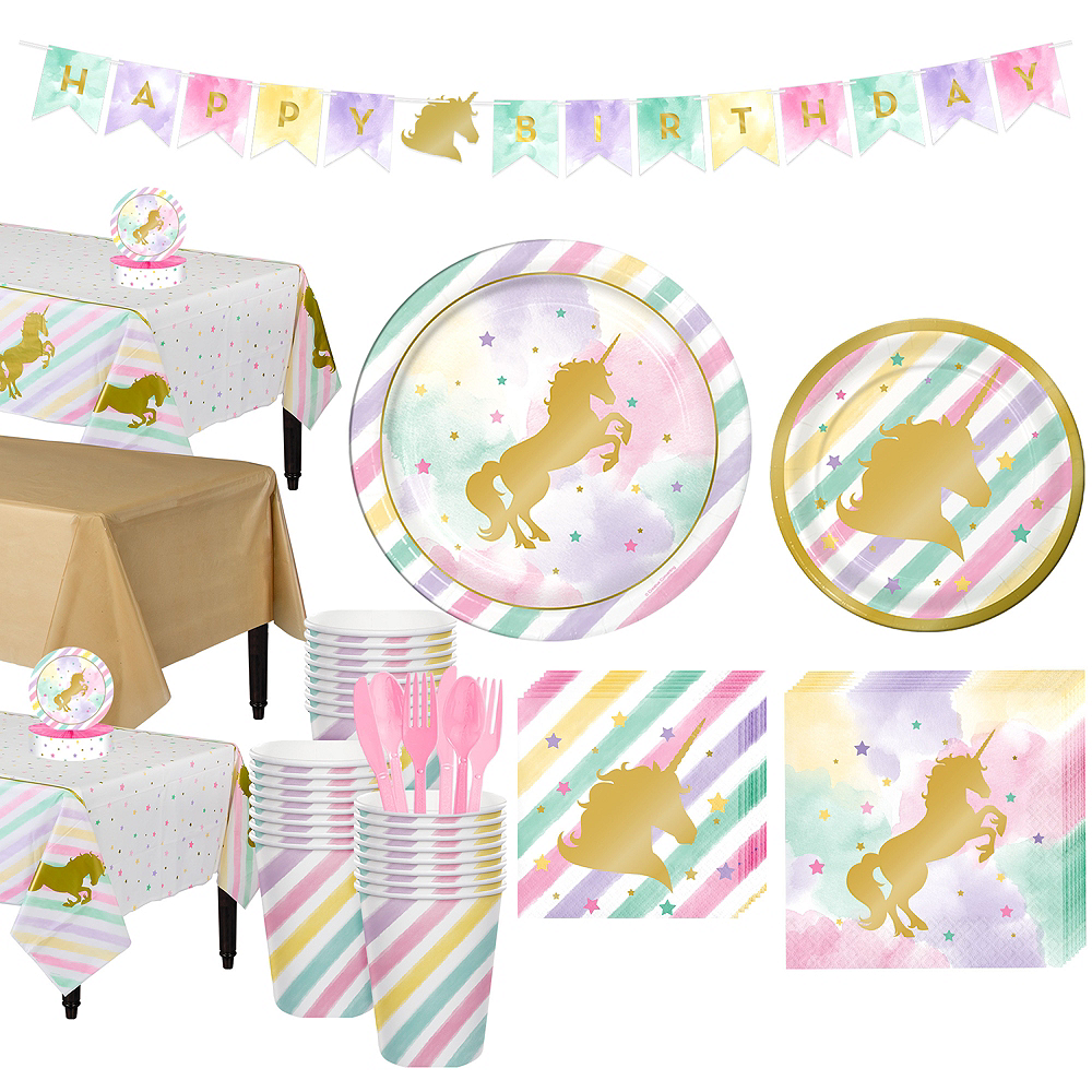 Sparkling Unicorn Tableware Party Kit for 24 Guests Image #1