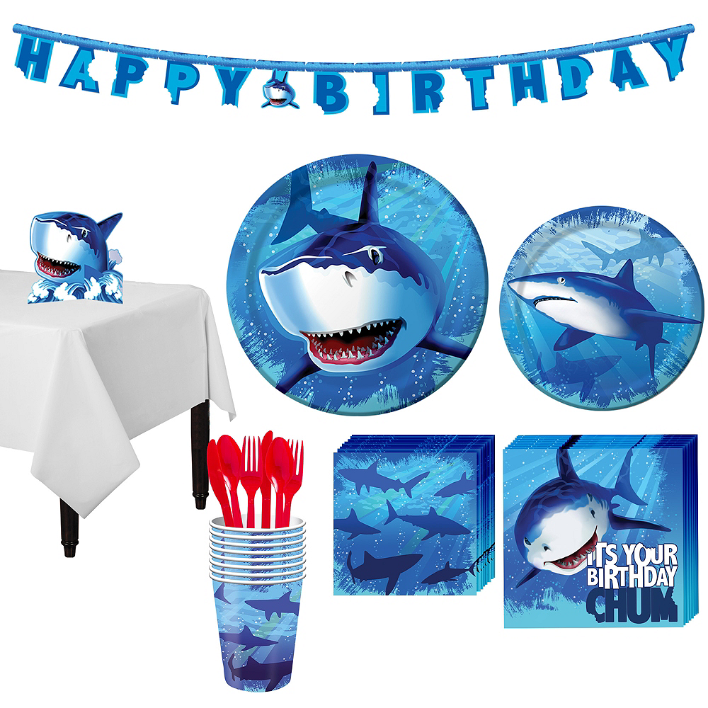 Shark Tableware Party Kit for 8 Guests Image #1