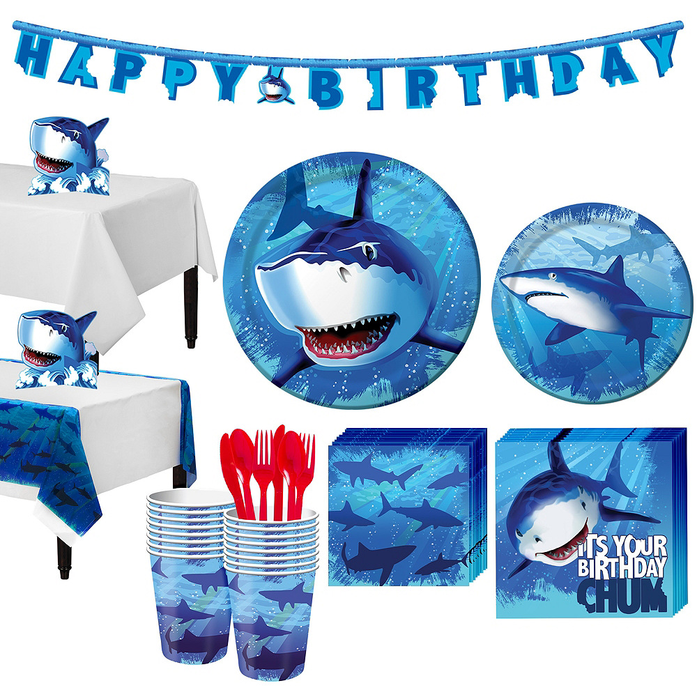 Shark Tableware Party Kit for 16 Guests Image #1