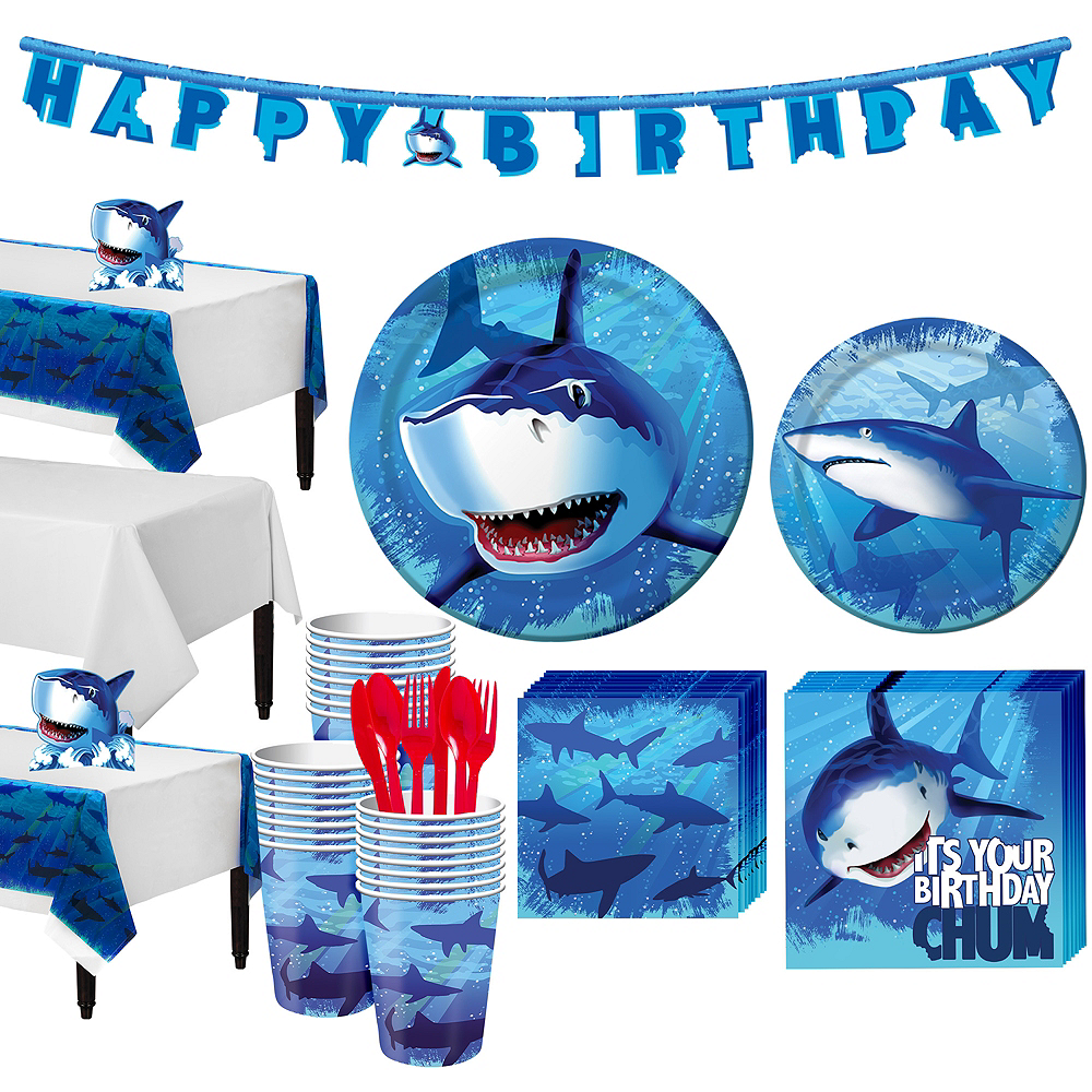 Shark Tableware Party Kit for 24 Guests Image #1