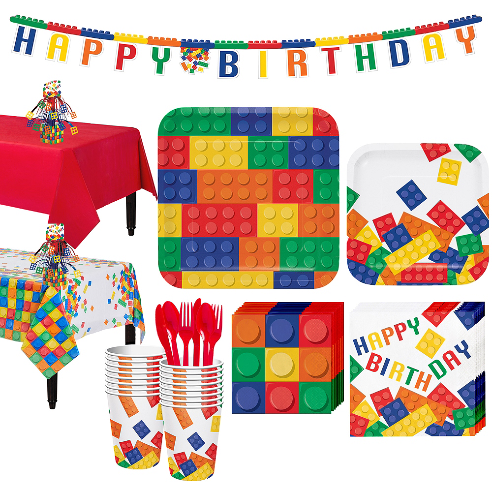 Building Blocks Tableware Party Kit for 16 Guests Image #1