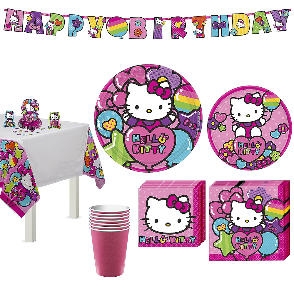 Nav Item for Rainbow Hello Kitty Tableware Party Kit for 8 Guests Image  1  ... c4780d7ec73a2