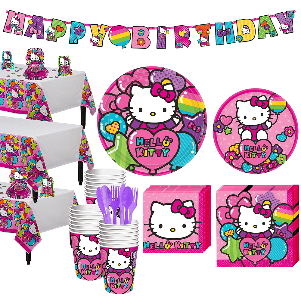 Rainbow Hello Kitty Tableware Party Kit for 24 Guests Image #1