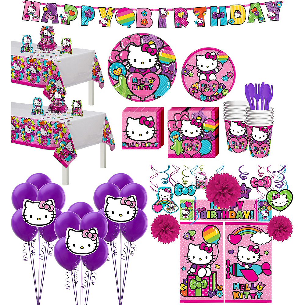 Rainbow Hello Kitty Tableware Ultimate Kit for 16 Guests Image #1