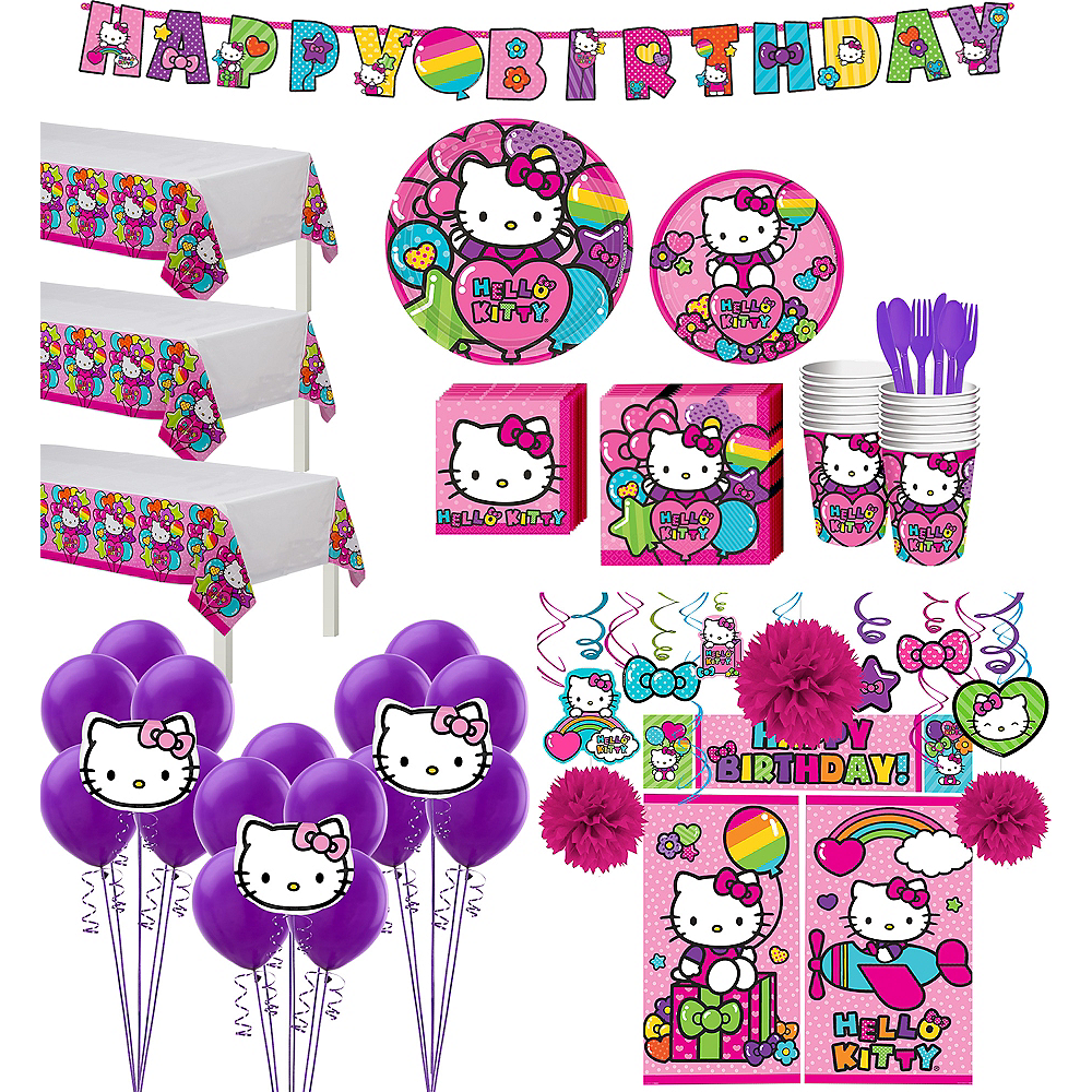 Rainbow Hello Kitty Tableware Ultimate Kit for 24 Guests Image #1