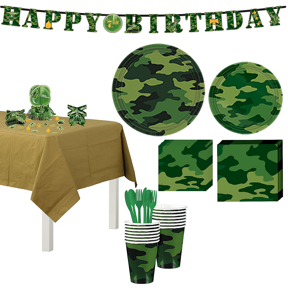 Camouflage Tableware Party Kit for 8 Guests Image #1