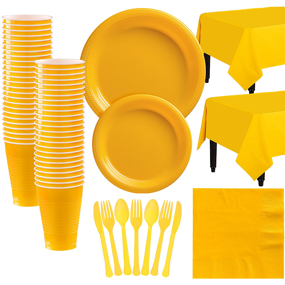 Sunshine Yellow Plastic Tableware Kit for 50 Guests Image #1