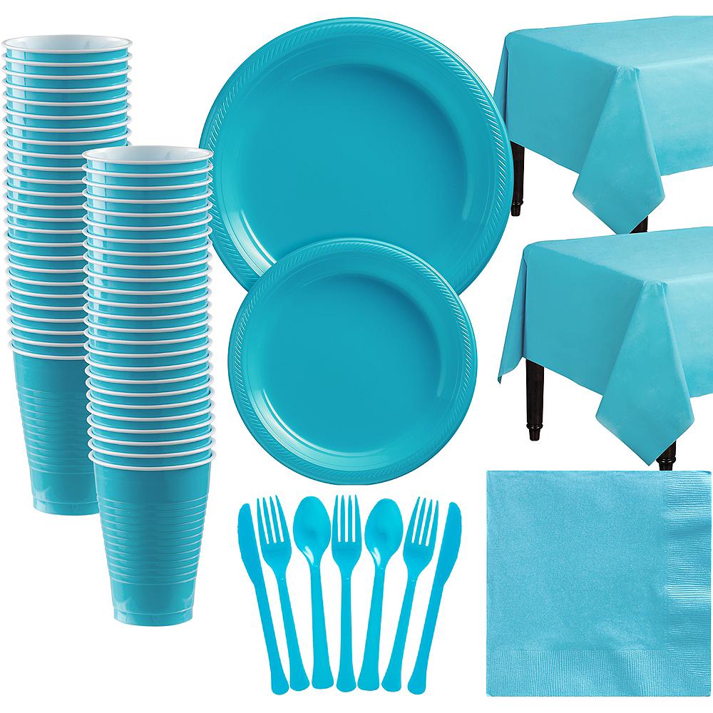 Caribbean Blue Plastic Tableware Kit for 50 Guests Image #1