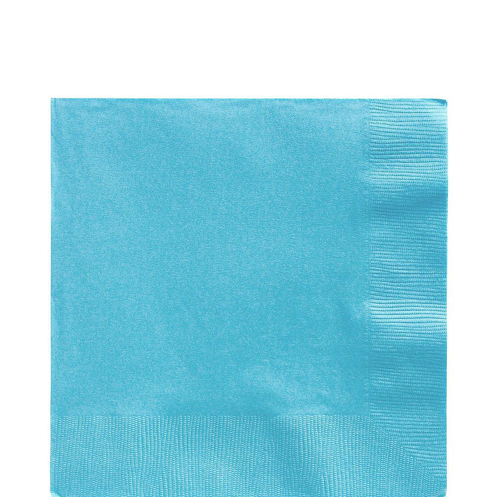 Caribbean Blue Plastic Tableware Kit for 50 Guests Image #4
