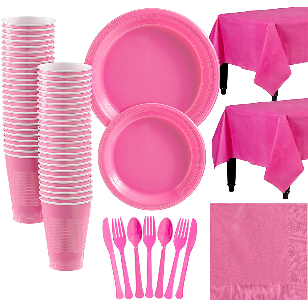Bright Pink Plastic Tableware Kit for 50 Guests Image #1