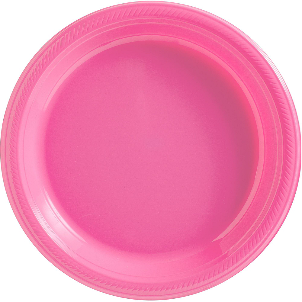 Bright Pink Plastic Tableware Kit for 50 Guests Image #3