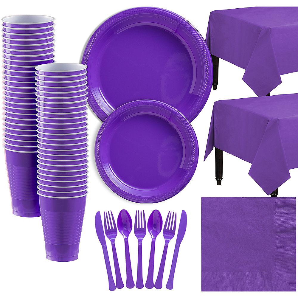 Purple Plastic Tableware Kit for 50 Guests Image #1