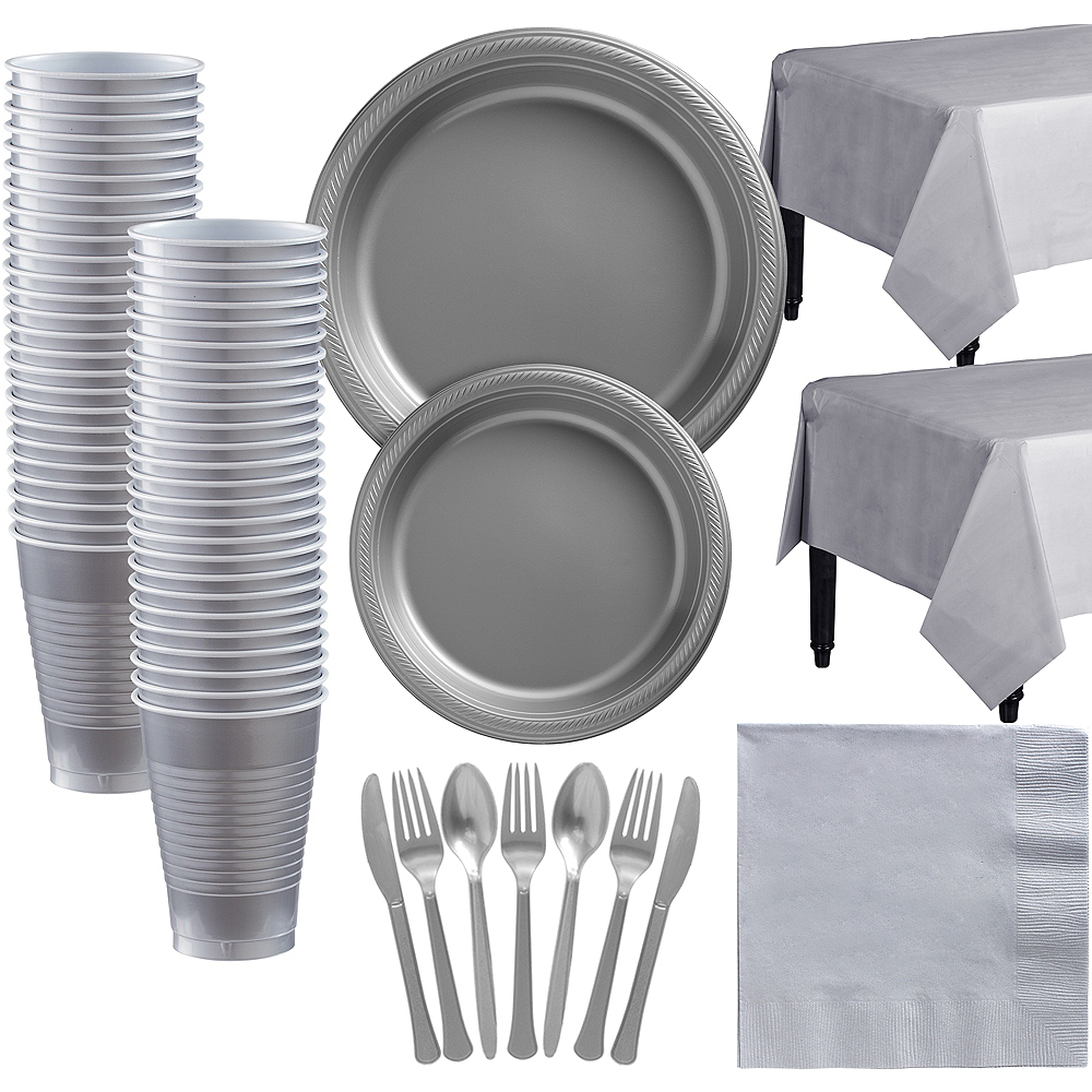 Silver Plastic Tableware Kit for 50 Guests Image #1
