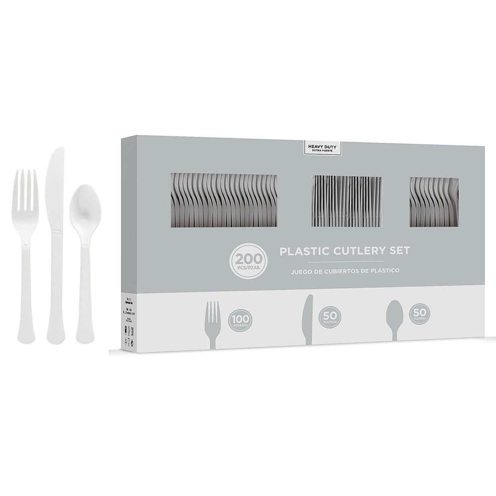 Silver Plastic Tableware Kit for 50 Guests Image #7