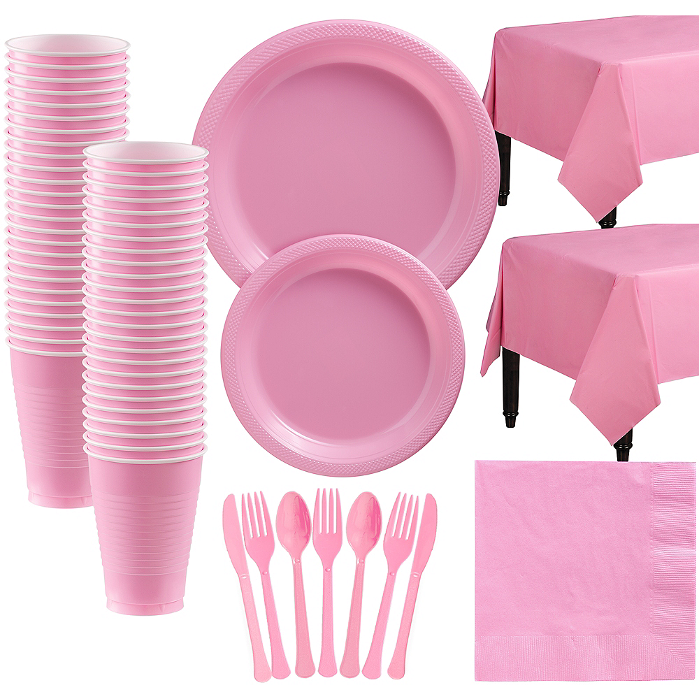 New Pink Plastic Tableware Kit for 50 Guests Image #1