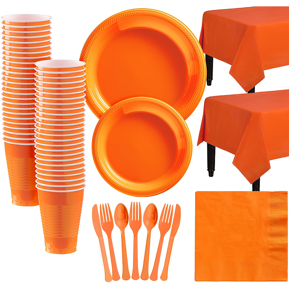 Orange Plastic Tableware Kit for 50 Guests Image #1