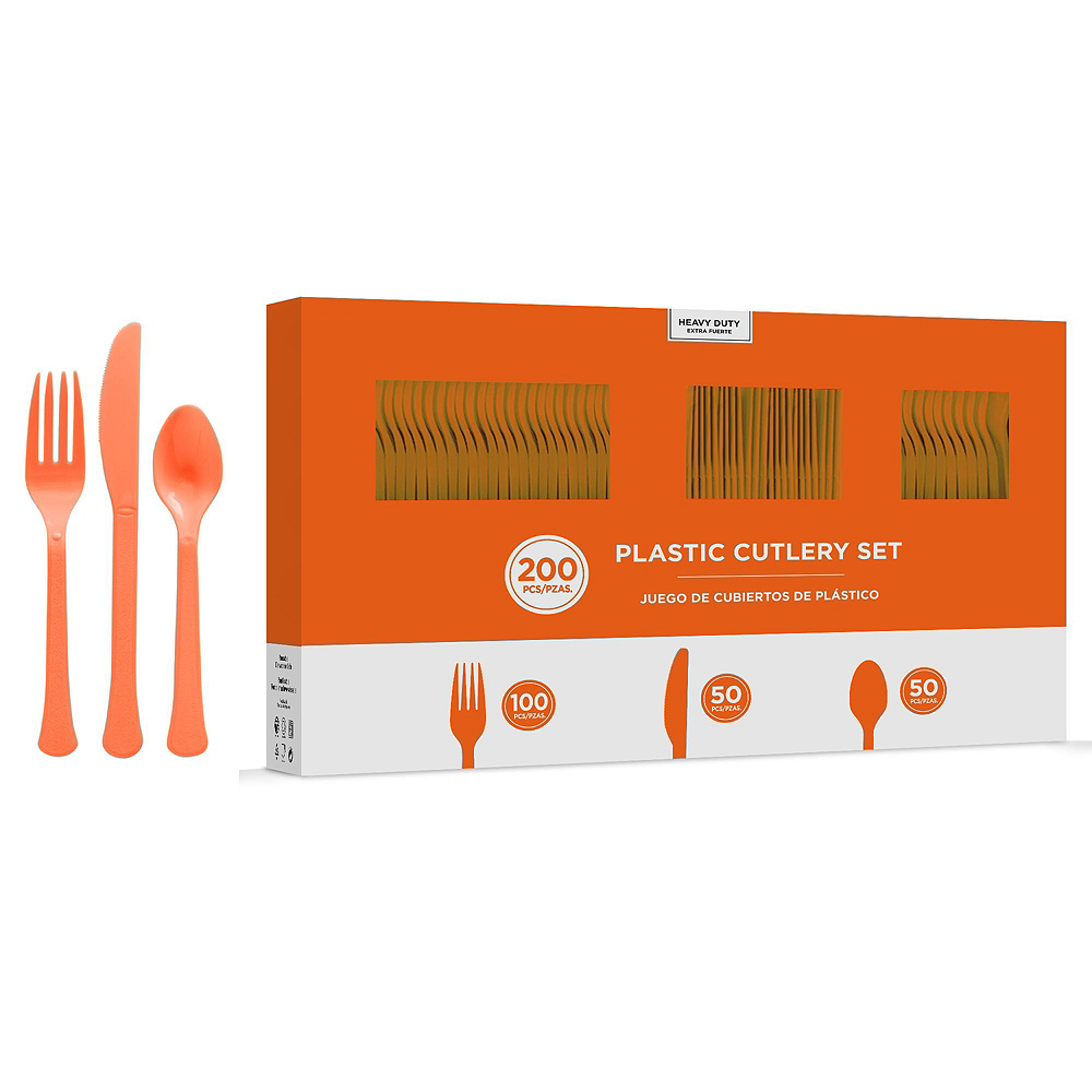 Orange Plastic Tableware Kit for 50 Guests Image #7