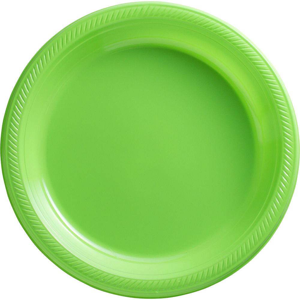 Kiwi Green Plastic Tableware Kit for 50 Guests Image #3