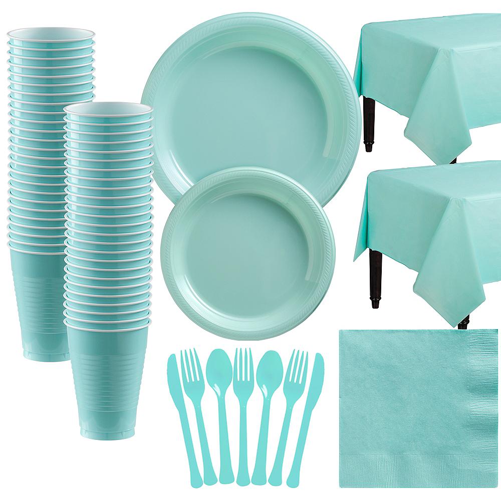 Robin's Egg Blue Plastic Tableware Kit for 50 Guests Image #1