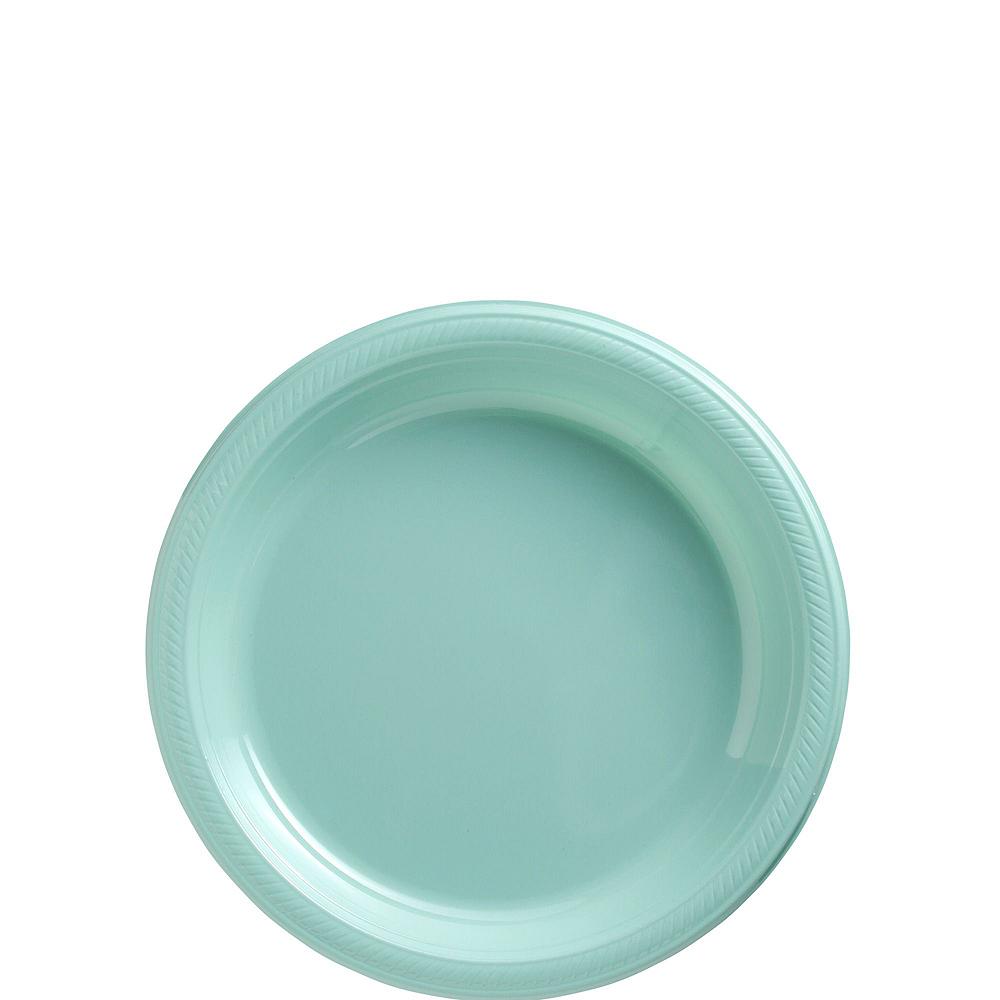 Robin's Egg Blue Plastic Tableware Kit for 50 Guests Image #2